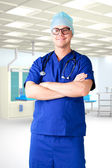 Young man doctor hospital room — Stock Photo