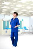 Young girl doctor hospital room — Stock Photo