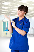 Young girl doctor hospital room — Stock Photo