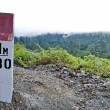 Stock Photo: Mountain hiking sign