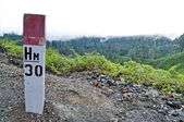 Mountain hiking sign — Stock Photo