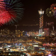 Fire works Night sense of the Taipei City — Stock Photo