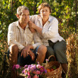 Senior couple in garden — Stock Photo