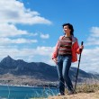 Stock Photo: Tourist woman in mountains