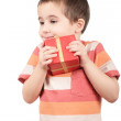 Stock Photo: Little boy holds his gift