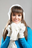 Beautiful winter girl in ear muff — Stock Photo