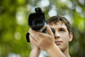 Young videographer — Stock Photo