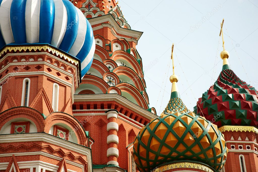 Part of oldest and famous Russian church, selective focus on nearest part — Stock Photo #4306077