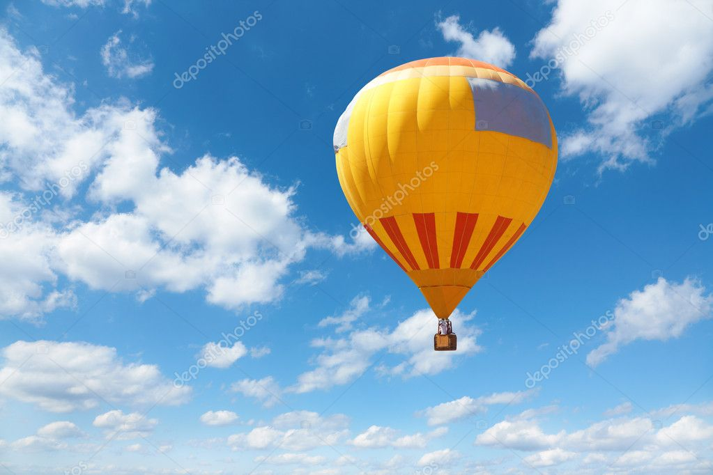 Orange ballon on sky background, selective focus — Stock Photo #4777128