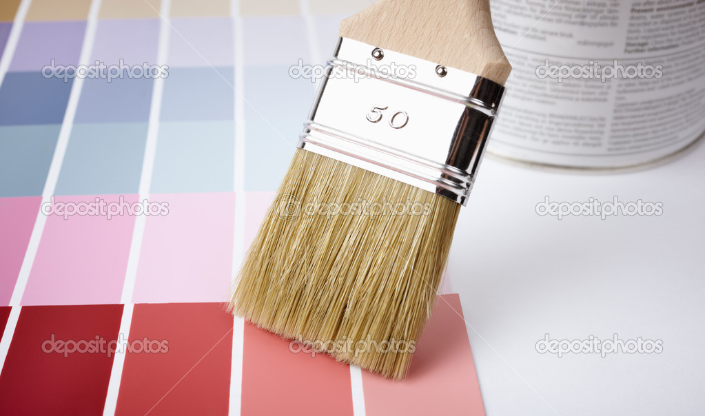 Paint brush,  can and color samples, selective focus  — Stock Photo #4939518