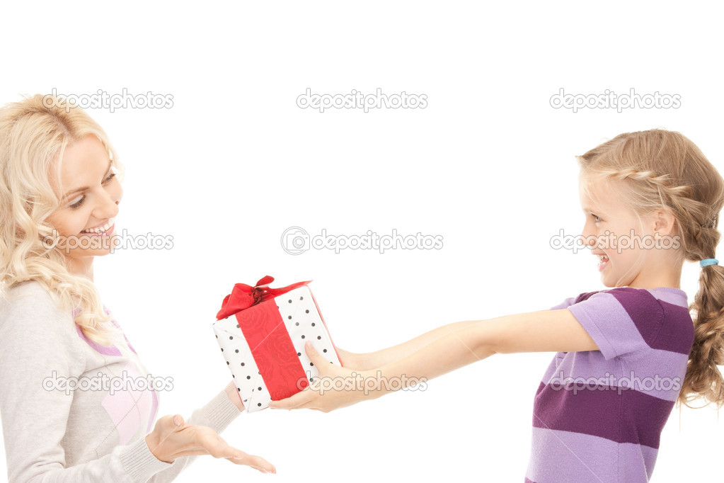 Picture of mother and little girl with gifts — Stock Photo #5282418