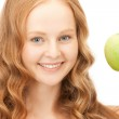 Young beautiful woman with green apple — Stock Photo #5291096