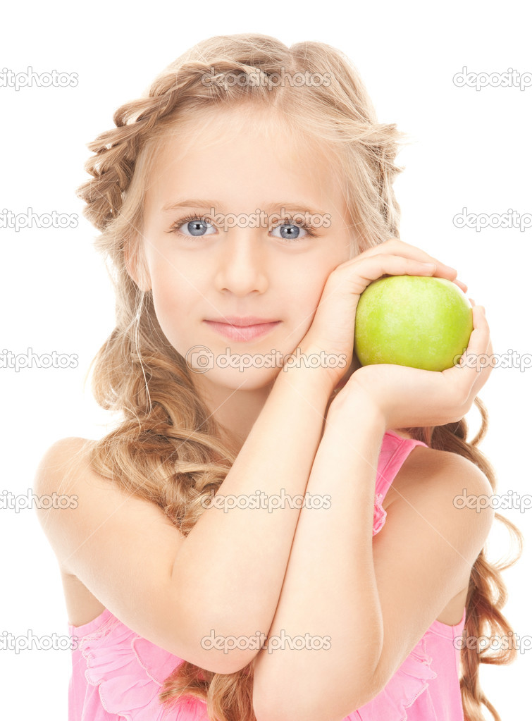 Picture of little girl with green apple — Stock Photo #5291027