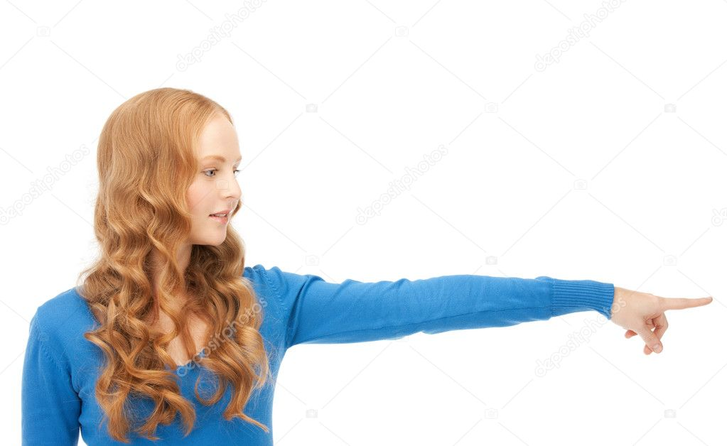 Picture of attractive businesswoman pointing her finger  Stock Photo #5314762