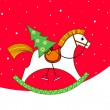 Christmas card. Rocking horse with a Christmas tree — Stock Vector #4432331