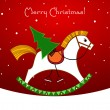 Christmas card. Rocking horse with a Christmas tree - Stock Vector