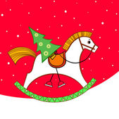 Christmas card. Rocking horse with a Christmas tree — Stock Vector