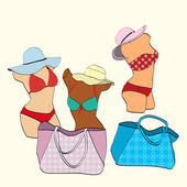 Mannequins women in bikinis and beach bags — Stock Vector