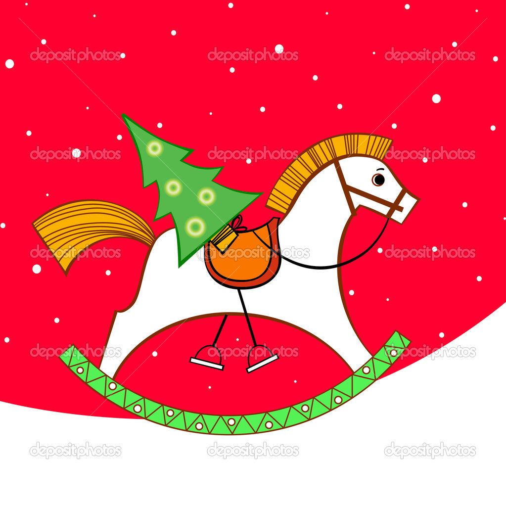 Christmas card. Rocking horse with a Christmas tree  Stock Vector #4432331
