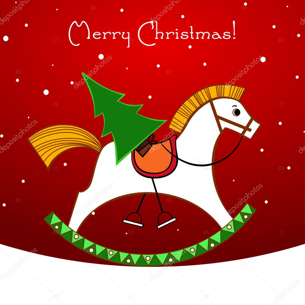 Christmas card. Rocking horse with a Christmas tree  Stock Vector #4432361