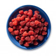 Lots of ripe raspberries on the blue plate — Stock Photo