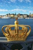 Skeppsholmen bridge and Royal palace — Stock Photo