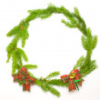 Green spruce frame with decoration — Stock Photo