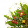 Green juniper branch with decoration — Stock Photo #4186263