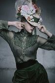 Beauty woman wearing old fashioned dress — Stock Photo