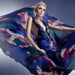 Beautiful blonde woman in georgeus dress — Stock Photo