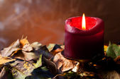 Autumnal still life. Candle — Stock Photo