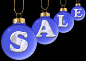 Sale on blue new year's ball — Stock Photo
