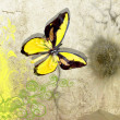 Butterfly on old vellum — Stock Photo