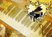 Grand piano in frame from butterfly — Stock Photo