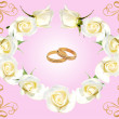 Frame from  roses and wedding rings — Stock Photo