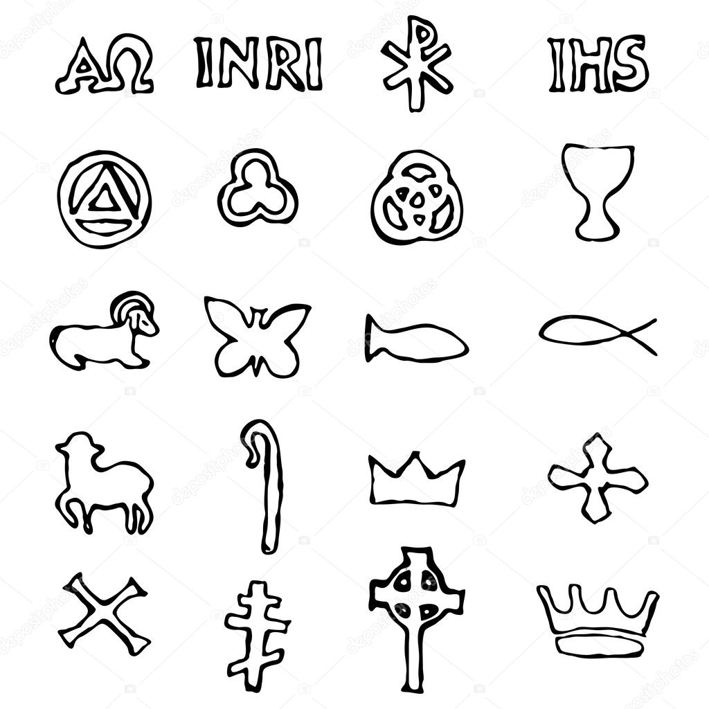 Set of illustration of a traditional christian symbols stock