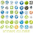 Collection of earth globes a map icons button — Stock Vector #4588350