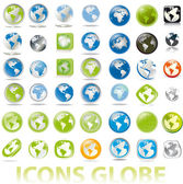 Collection of earth globes a map icons button — Stock Vector