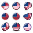 American Flag symbols icons Buttons vector illustration USA - Stock Vector