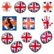 bandera británica símbolos iconos botones vector ilustración uk — Vector de stock
