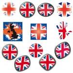 britische flagge symbole symbole schaltflächen vector illustration uk — Stockvektor