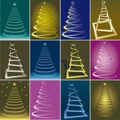 Christmas trees collection — Stock Photo