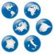 Collection of earth globes icons — Imagen vectorial