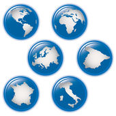 Collection of earth globes icons — Stock Vector