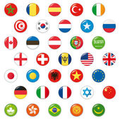 Set of world flags. Vector button — Stock Vector