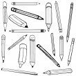 Set vector illustration of pencils — Stock vektor