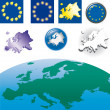 Stock Vector: Europeunion flag, map, symbols, icons...