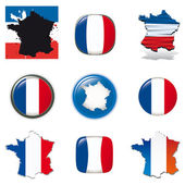 French symbols and icons. Vector collection. — Stock Vector