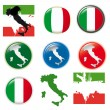 Italy vector set, flags and map — Stock Vector