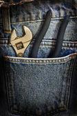 Llave jeans bolsillo interior — Foto de Stock